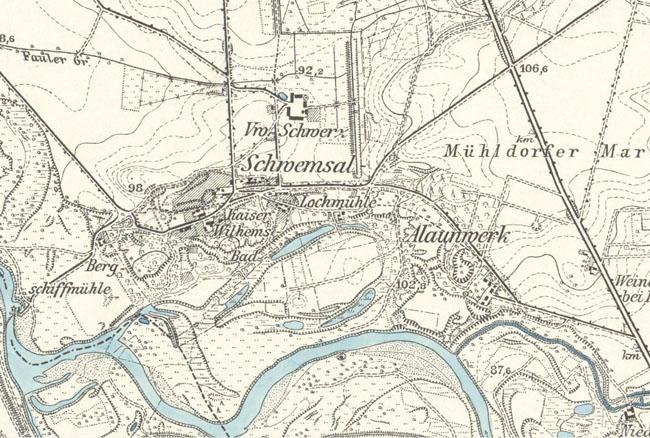 Auf Einem Kartenausschnitt Von 1904 (Meßtischblatt Nr. 2463 Söllichau) Ist  Das U201eKaiser Wilhelms Badu201c Bereits Eingezeichnet. Bei Genauem Hinsehen Sieht  Man ...
