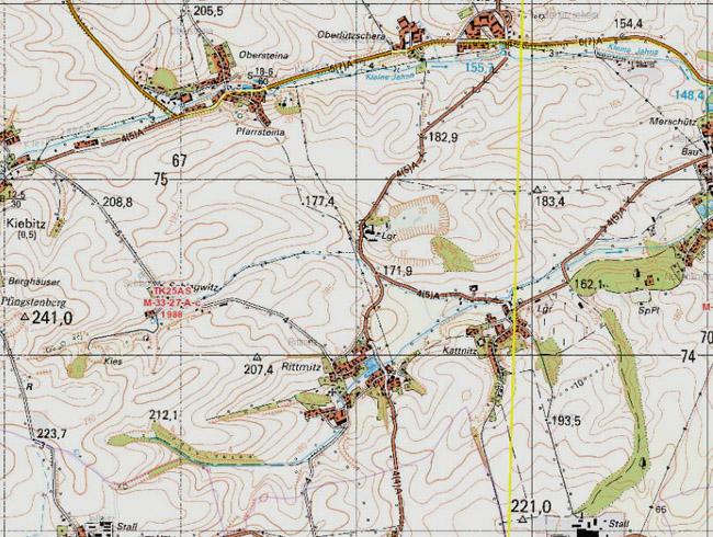 Dieser Ausschnitt Aus Der Topographischen Karte Von 1988 Zeigt Uns Den  Umriß Des Tagebaus Und Der Abraumhalde Nordöstlich Von Rittmitz Nach Der  Einstellung ...